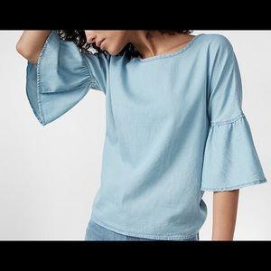 Express Denim bell sleeve blouse